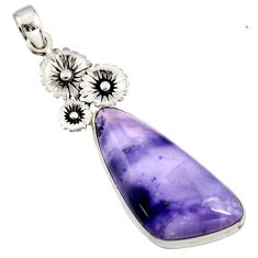 26.70cts natural purple tiffany stone 925 sterling silver flower pendant r7910