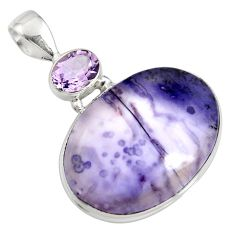20.51cts natural purple tiffany stone amethyst 925 sterling silver pendant r7928