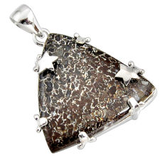 27.64cts natural brown dinosaur bone fossilized 925 silver pendant r7948