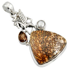 925 silver 25.19cts natural brown dinosaur bone fossilized unicorn pendant r7949