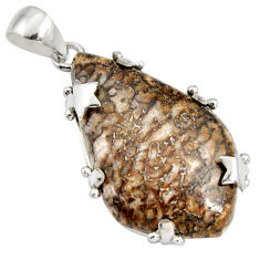 925 silver 25.28cts natural brown dinosaur bone fossilized fancy pendant r7956