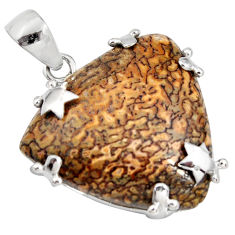 925 silver 30.39cts natural brown dinosaur bone fossilized pendant jewelry r7959