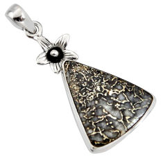 15.08cts natural brown dinosaur bone fossilized 925 silver flower pendant r7960