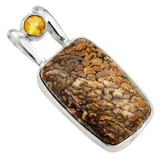 24.00cts natural brown dinosaur bone fossilized citrine 925 silver pendant r7961