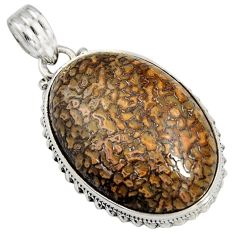 925 silver 28.08cts natural brown dinosaur bone fossilized oval pendant r7963