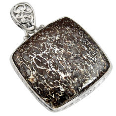 34.33cts natural brown dinosaur bone fossilized 925 silver pendant r7976