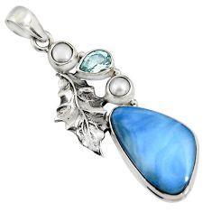 18.15cts natural blue owyhee opal topaz 925 silver deltoid leaf pendant r7982