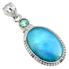 14.47cts natural blue owyhee opal topaz 925 sterling silver pendant r7983