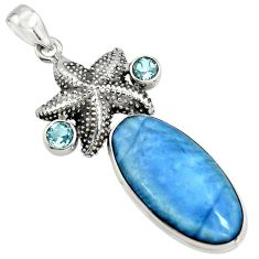 22.73cts natural blue owyhee opal topaz 925 silver star fish pendant r7985