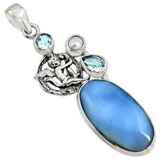 18.47cts natural blue owyhee opal 925 silver angel wings fairy pendant r7989