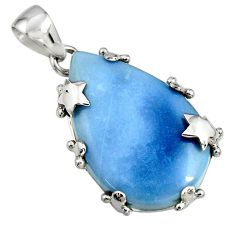 20.17cts natural blue owyhee opal 925 sterling silver star pendant jewelry r7990
