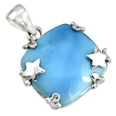 18.98cts natural blue owyhee opal 925 sterling silver star pendant jewelry r7991