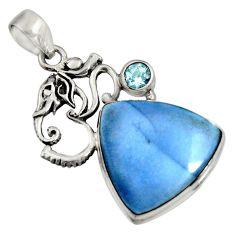 925 silver 16.70cts natural blue owyhee opal topaz om symbol pendant r7992