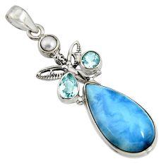 18.94cts natural blue owyhee opal 925 silver angel wings fairy pendant r7993