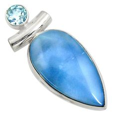 925 sterling silver 17.42cts natural blue owyhee opal pear topaz pendant r7994