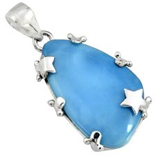 18.47cts natural blue owyhee opal 925 sterling silver star pendant jewelry r7995
