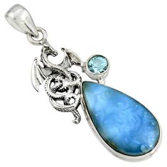15.16cts natural blue owyhee opal topaz 925 sterling silver dragon pendant r7996
