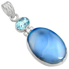 925 sterling silver 16.20cts natural blue owyhee opal topaz pendant r8004