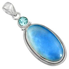 19.23cts natural blue owyhee opal oval topaz 925 sterling silver pendant r8006
