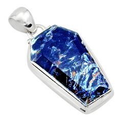 925 silver 15.08cts coffin natural black pietersite (african) pendant r80066