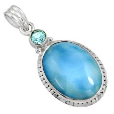 16.20cts natural blue owyhee opal topaz 925 sterling silver pendant r8008