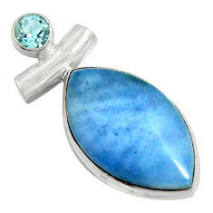 925 sterling silver 15.65cts natural blue owyhee opal topaz pendant r8009