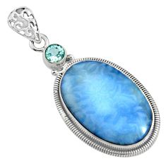 17.22cts natural blue owyhee opal topaz 925 sterling silver pendant r8011