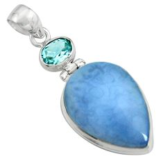 16.18cts natural blue owyhee opal topaz 925 sterling silver pendant r8013