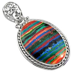 925 sterling silver 18.70cts natural multi color rainbow calsilica pendant r8018