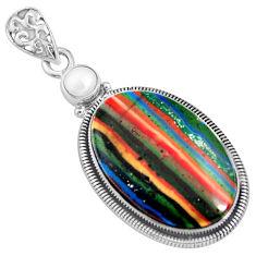 16.73cts natural multi color rainbow calsilica pearl 925 silver pendant r8020