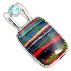 16.70cts natural multi color rainbow calsilica topaz 925 silver pendant r8025