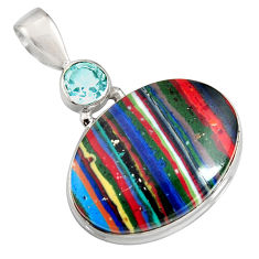 15.62cts natural multi color rainbow calsilica topaz 925 silver pendant r8028