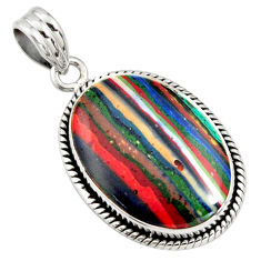 13.70cts natural multi color rainbow calsilica 925 sterling silver pendant r8029