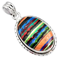 925 sterling silver 13.70cts natural multi color rainbow calsilica pendant r8031