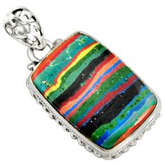 15.65cts natural multi color rainbow calsilica 925 sterling silver pendant r8033