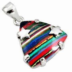 14.25cts natural multi color rainbow calsilica 925 sterling silver pendant r8034
