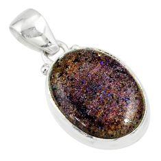 925 silver 9.72cts natural black honduran matrix opal oval shape pendant r80347