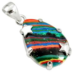 14.79cts natural multi color rainbow calsilica 925 silver star pendant r8037