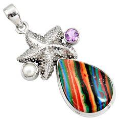19.27cts natural multi color rainbow calsilica silver star fish pendant r8038