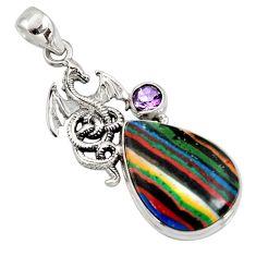 925 silver 15.85cts natural multi color rainbow calsilica dragon pendant r8039
