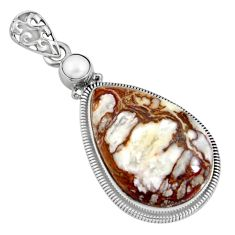 22.90cts natural bronze wild horse magnesite pearl 925 silver pendant r8062