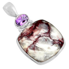 20.88cts natural bronze wild horse magnesite amethyst 925 silver pendant r8063