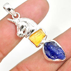 11.30cts natural tanzanite raw citrine rough 925 silver horse pendant r80773