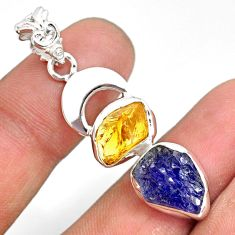 925 silver 10.81cts natural blue tanzanite raw citrine rough pendant r80809