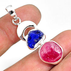 925 silver 12.31cts natural pink ruby raw sapphire rough pendant r80819