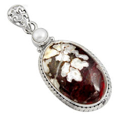 925 silver 22.59cts natural bronze wild horse magnesite pearl pendant r8083