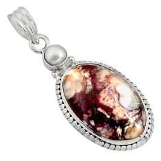 18.15cts natural bronze wild horse magnesite pearl 925 silver pendant r8096