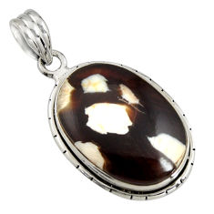 925 silver 16.18cts natural brown peanut petrified wood fossil pendant r8119