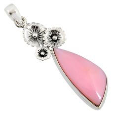 15.02cts natural pink opal 925 sterling silver flower pendant jewelry r8130