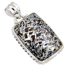 925 silver 22.05cts natural brown dinosaur bone fossilized pendant r8159